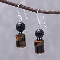 Onyx and tiger's eye dangle earrings, 'Earthen Marvel' - Onyx and Tiger's Eye Dangle Earrings from Thailand