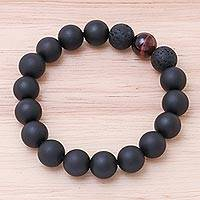 Onyx and tiger's eye beaded stretch bracelet, 'Dark Sophistication in Red' - Onyx and Red Tiger's Eye Beaded Stretch Bracelet