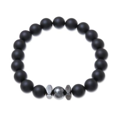 Black Onyx Beaded Stretch Bracelet from Thailand