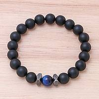 Onyx and tiger's eye beaded stretch bracelet, 'Black Sky' - Black Onyx and Blue Tiger's Eye Beaded Stretch Bracelet