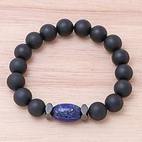 Onyx and lapis lazuli beaded stretch bracelet, 'Black Sky' - Onyx and Lapis Lazuli Beaded Stretch Bracelet from Thailand