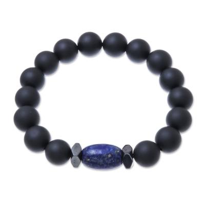 Onyx and Lapis Lazuli Beaded Stretch Bracelet from Thailand
