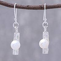 Cultured pearl dangle earrings, 'Modern Dew' - Modern Cultured Pearl Dangle Earrings from Thailand