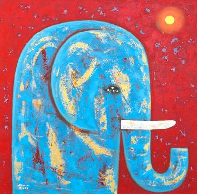 'Red Full Moon' - Signed Naif Painting of a Blue Elephant from Thailand