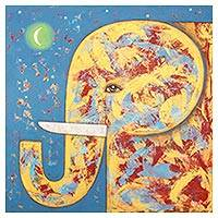 'Elephant and the Crescent Moon' - Signed Naif Painting of a Yellow Elephant from Thailand