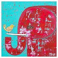 'Elephant with a Little Friend' - Signed Naif Painting of a Red Elephant from Thailand