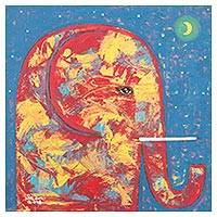 'Elephant in the Crescent Moon Light Night' - Signed Naif Painting of an Elephant at Nighttime