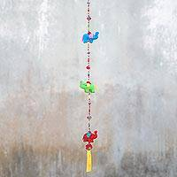 Cotton mobile, 'Splendorous Elephants' - Colorful Cotton Elephant Mobile Crafted in Thailand