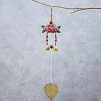 Beaded mobile, 'Mandarin Peony' - Floral Beaded Mobile Crafted in Thailand