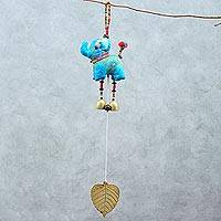 Cotton mobile, 'Elephant Dance in Blue' - Elephant-Themed Cotton Mobile in Blue from Thailand