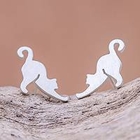 Featured review for Sterling silver stud earrings, Feline Stretch