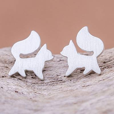 Sterling silver stud earrings, 'Fox Poise' - Sterling Silver Fox Stud Earrings from Thailand