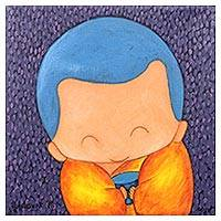 'Happy Giving III' - Signed Naif Painting of a Cute Buddhist Monk from Thailand