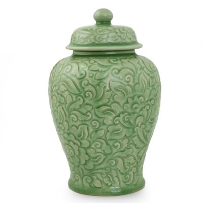 Celadon ceramic jar, 'Botanical Dream' - Fair Trade Celadon Ceramic Vase