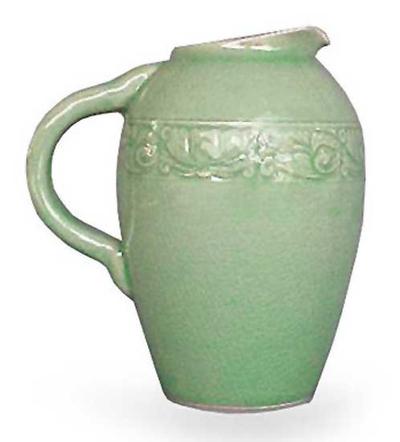 Hand Made Celadon Ceramic Pitcher