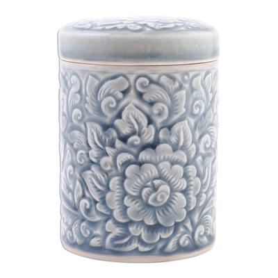 Floral Celadon Ceramic Jar
