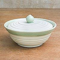 Celadon ceramic bowl, 'Orbits' - Handcrafted Celadon Ceramic Bowl with Lid
