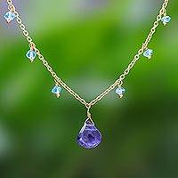 Gold plated iolite and apatite pendant necklace, 'Sea Change' - 18k Gold Plated Iolite and Apatite Pendant Necklace