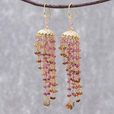 Gold plated tourmaline chandelier earrings, 'Pink Rain' - 18k Gold Plated Tourmaline Chandelier Earrings