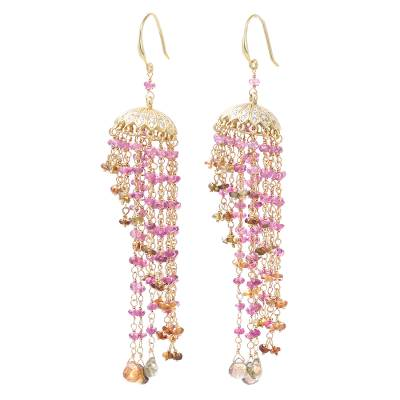 18k Gold Plated Tourmaline Chandelier Earrings