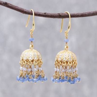 Gold plated sapphire and labradorite chandelier earrings, 'Dazzling Domes' - 18k Gold Plated Sapphire and Labradorite Chandelier Earrings