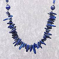 Lapis lazuli beaded necklace, 'Magnificent Waters' - Lapis Lazuli Beaded Necklace from Thailand