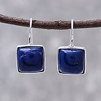 Rhodium plated lapis lazuli drop earrings, 'Gleaming Squares' - Rhodium Plated Lapis Lazuli Drop Earrings from Thailand