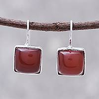 Rhodium plated carnelian drop earrings, 'Gleaming Squares' - Rhodium Plated Carnelian Drop Earrings from Thailand