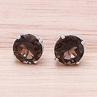 Rhodium plated smoky quartz stud earrings, 'Precious Sparkle' - Rhodium Plated Smoky Quartz Stud Earrings from Thailand