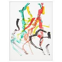 Elephant painting, 'Party' - Authentic Original Abstract Elephant Painting from Thailand