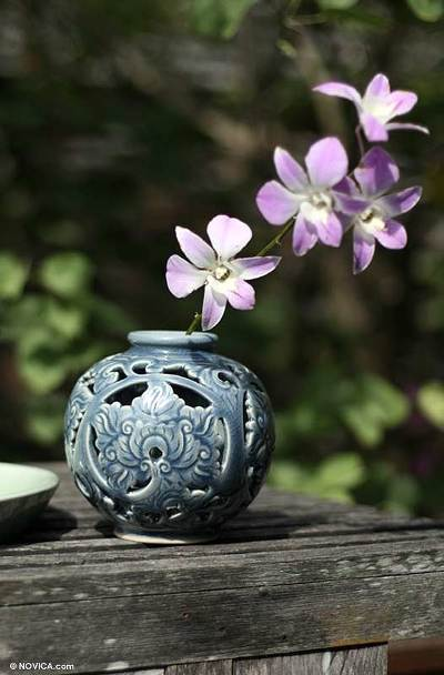 Handcrafted Celadon Ceramic Vase from Thailand