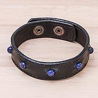 Men's lapis lazuli beaded wristband bracelet, 'Powerful Mind' - Men's Lapis Lazuli and Leather Beaded Wristband Bracelet