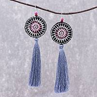 Cotton dangle earrings, 'Hill Tribe Carnival' - Hand-Embroidered Dangle Earrings from Thailand