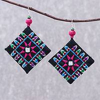 Cotton blend dangle earrings, 'Prized Squares' - Square Embroidered Cotton Dangle Earrings from Thailand