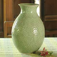 Celadon ceramic vase, 'Surfaces' - Celadon Ceramic Vase from Thailand