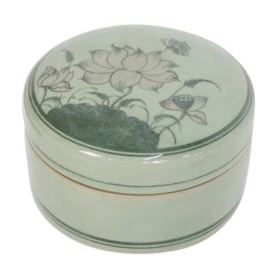 Fair Trade Celadon Ceramic Jewelry Box