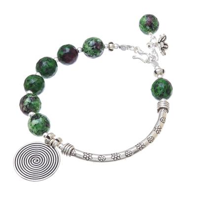 Green Agate and Karen Silver Beaded Charm Bracelet