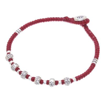 Floral Karen Silver Beaded Bracelet in Red from Thailand