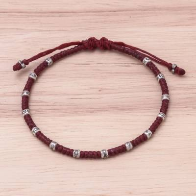 Silver beaded macrame bracelet, 'Simple Hill Tribe' - Karen Silver Beaded Macrame Bracelet in Red from Thailand