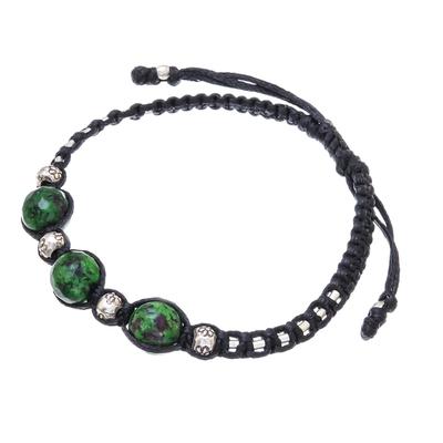 Green Agate Beaded Macrame Bracelet from Thailand