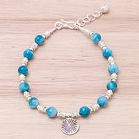 Apatite beaded bracelet, 'Karen Expanse' - Apatite and Karen Silver Beaded Bracelet from Thailand