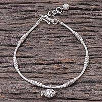 Silver beaded bracelet, 'Hill Tribe Swimmer' - Fish-Themed Karen Silver Beaded Bracelet from Thailand