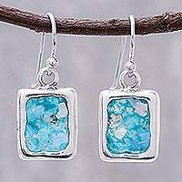 Roman glass dangle earrings, 'Cool Roman' - Artisan Crafted Roman Glass Dangle Earrings from Thailand