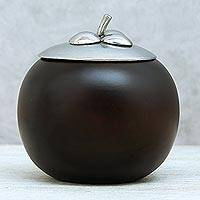 Wood and pewter decorative jar, 'The Mangosteen' (5 inch) - Fruit-Shaped Wood and Pewter Decorative Jar (5 in.)