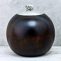 Wood and pewter decorative jar, 'Elephant Orb' (5 inch) - Wood and Pewter Elephant Decorative Jar (5 in.)