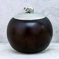 Wood and pewter decorative jar, 'Elephant Orb' (4 inch) - Wood and Pewter Elephant Decorative Jar (4 in.)