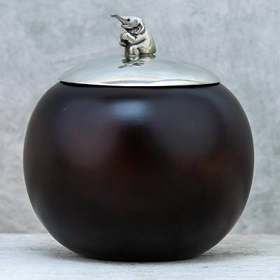 Wood and pewter decorative jar, 'Baby Elephant' (4 inch) - Elephant-Themed Wood and Pewter Decorative Jar (4 inch)