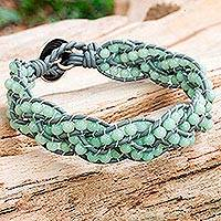 Dolomite beaded bracelet, 'Summer Hydrangea' - Aqua Dolomite and Grey Leather Bracelet from Thailand