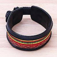 Men's leather and cotton wristband bracelet, 'Hill Tribe Party' - Handmade Men's Leather and Cotton Multicolored Bracelet