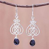Onyx dangle earrings, 'Swirling Beauty' - Swirl Pattern Onyx Dangle Earrings Crafted in Thailand